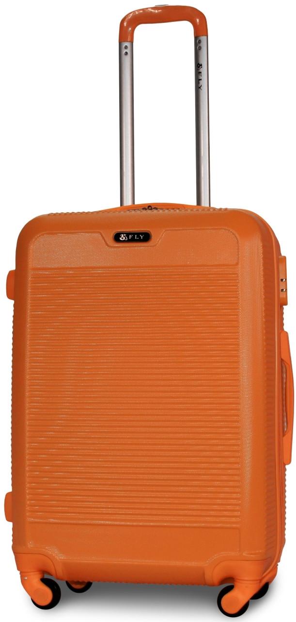 Валіза пластикова на 4х колесах середня M помаранчева | 25х65х42 см | 3.150 кг | 62 л | FLY 1093