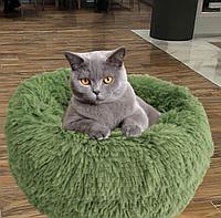 Пушистый лежак, матрас для собак и кошек 50 см спальные места для домашних животных оливка.