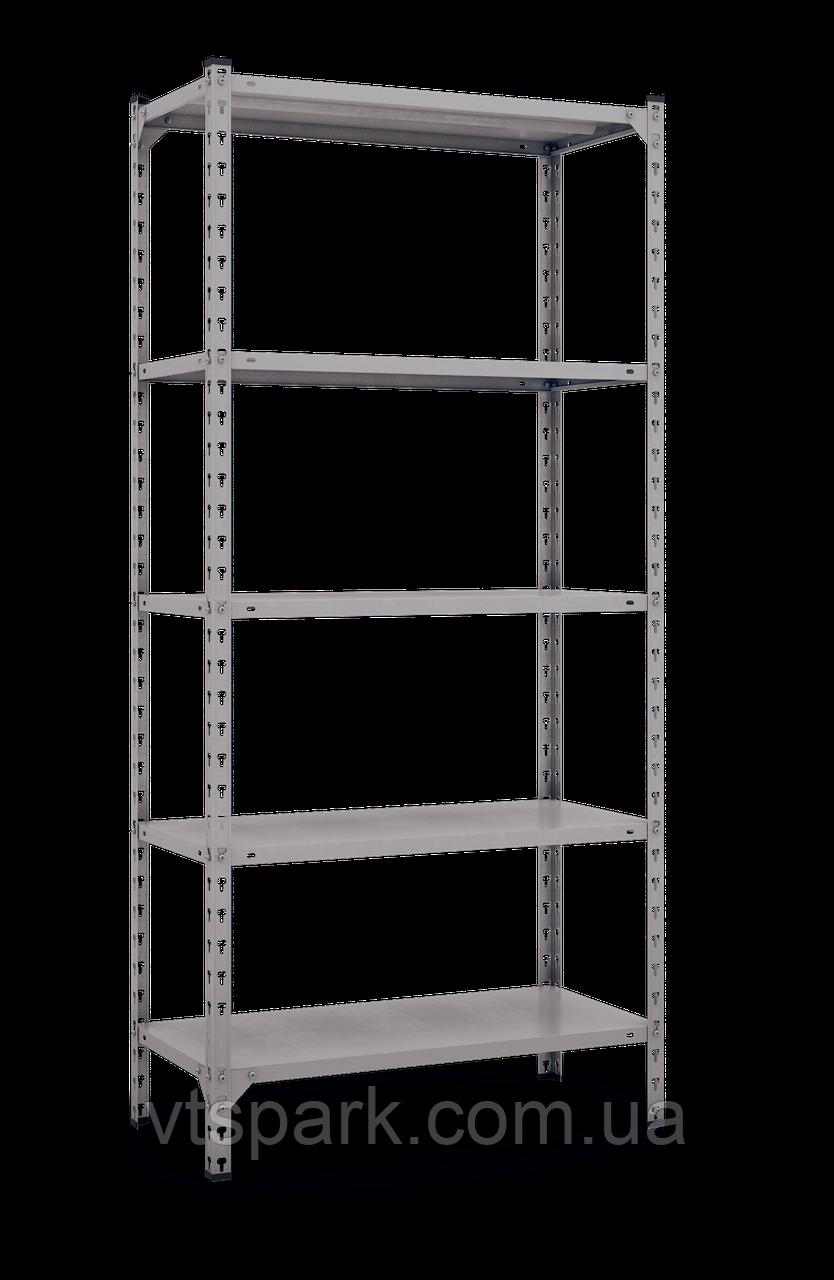 Стеллаж Комби 1800х1200х400мм, 120кг, 5 полок, металлические полки, оцинкованный для подвала, склада, архива