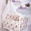 """Дитяче постільна білизна в ліжечко з балдахіном 9в1 """"Ведмедики і соти"""" - 9 предметів / Захист в манеж, фото 6"""