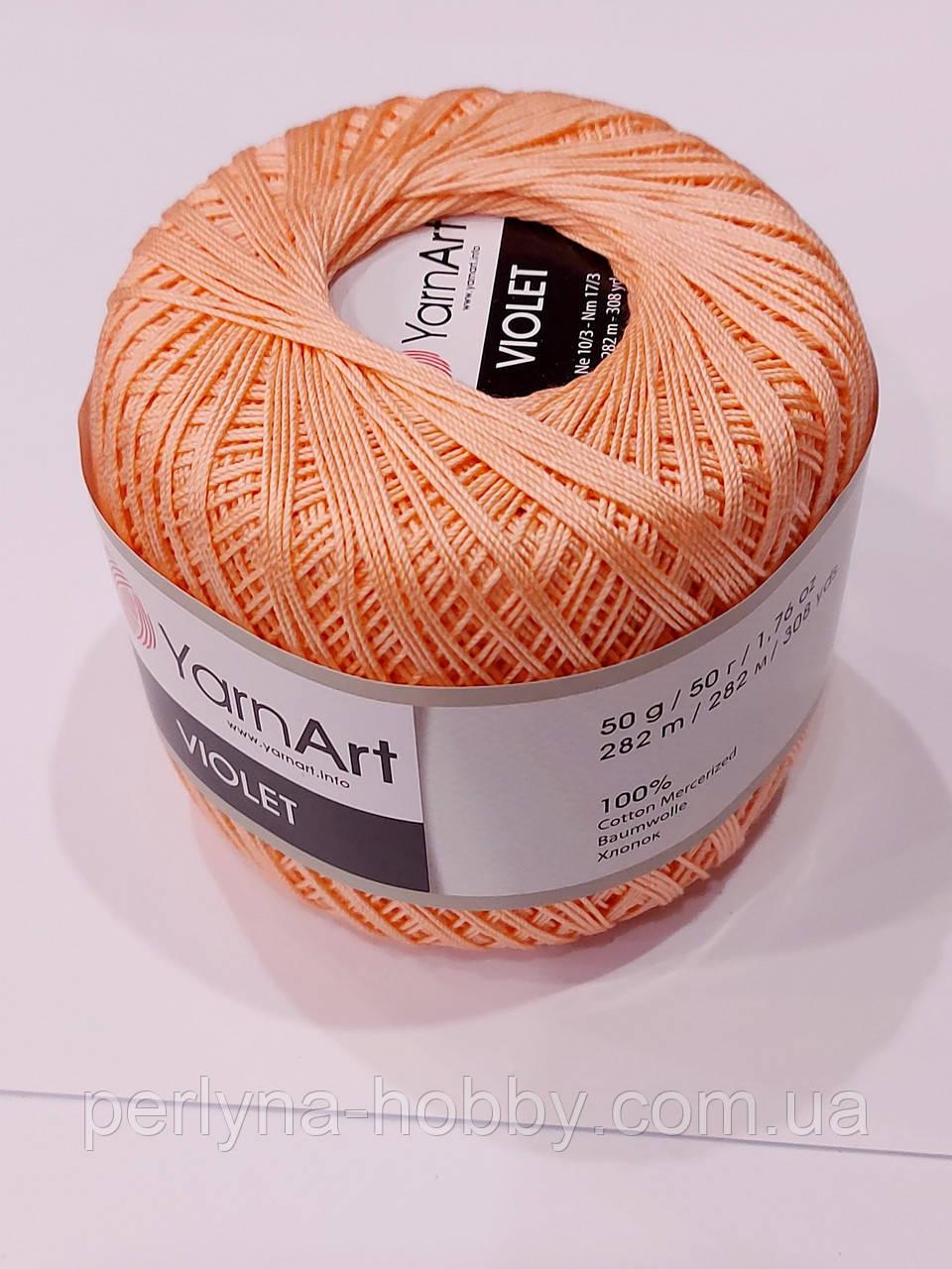 Пряжа нитки для вязания хлопковые  Виолет Ярнарт Violet YarnArt 100% бавовна персиковий№ 0329