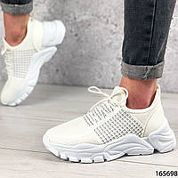 Женские кроссовки белые из текстиля на белой подошве | Женские кеды белые | кроссовки повседневные и спорта