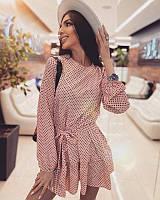 Летнее пудровое женское платье на змеечке