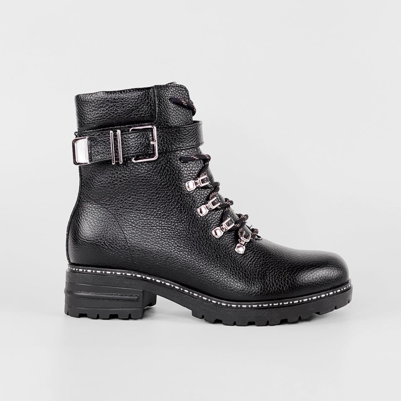Ботинки женские кожаные черные на шнурках с ремнем MORENTO зимние