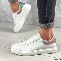 Женские кроссовки белые из эко кожи на белой подошве | Женские кеды белые | кроссовки повседневные и спорта