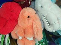 Брелок зайка кролик , брелок из натурального меха, брелок на сумку, брелок меховой
