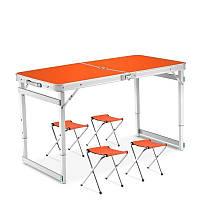 Алюминиевый стол и стулья для пикника, кемпинга и рыбалки Стол туристический складной усиленный + 4 стула