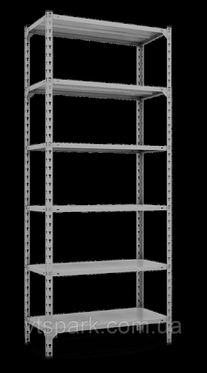Стеллаж Комби 3120х1000х400мм, 120кг, 6 полок, металлические полки, оцинкованный для подвала, склада, архива