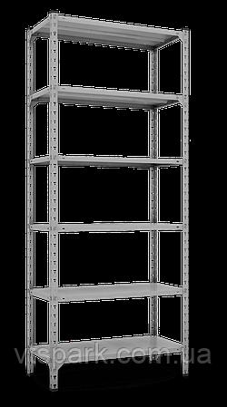 Стеллаж Комби 3120х1000х600мм, 120кг, 6 полок, металлические полки, оцинкованный для подвала, склада, архива