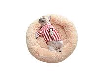 Пушистый лежак, матрас для собак и кошек 50 см. спальные места для домашних животных лежанка персиковая.