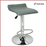 Барный стул высокий для барной стойки Кожаное барное кресло стильное без спинки для дома Bonro B-688 серый