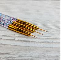 Набор кистей для рисования и дизайна ногтей лайнер Sweet Nails 3шт золотые