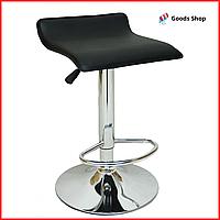 Барный стул высокий для барной стойки Кожаное барное кресло стильное без спинки для дома Bonro B-688 черный