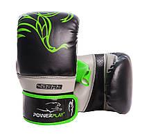 Снарядные перчатки PowerPlay 3038 черно-зеленые M
