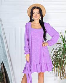 Весняне коротке плаття в дрібний горошок з софта 5 кольорів 50-661-1