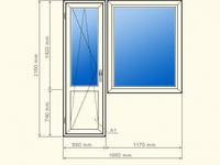 Металлопластиковое окно  Балконный блок(пвх)  1850мм х 2150мм