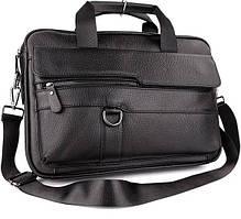 Деловая сумка-портфель мужская кожаная для ноутбука и документов черная Tiding Bag М3144В