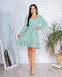 Весеннее короткое платье в мелкий цветочек из софта 4 цвета 50-661-2, фото 7