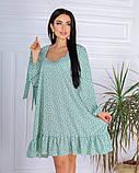 Весеннее короткое платье в мелкий цветочек из софта 4 цвета 50-661-2, фото 3