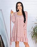 Весеннее короткое платье в мелкий цветочек из софта 4 цвета 50-661-2, фото 4