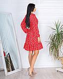 Весеннее короткое платье в мелкий цветочек из софта 4 цвета 50-661-2, фото 6