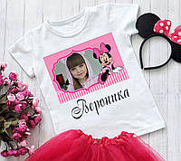 Дитяча Футболка Minnie Mouse (Мінні Маус) Іменна з фотографією / Футболка Мінні Маус Іменна з фотографією