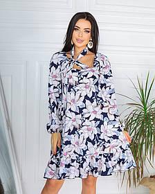 Весняне коротке плаття з квітковим принтом з софта 3 принта 50-661-3