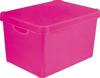 Коробка декоративная пластиковая для хранения с крышкой розовая 25 л 395Х295Х250 мм Curver CR-04711-0 Р