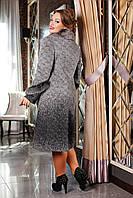 Зимнее удлиненное женское пальто из шерстяной ткани с воротником из натурального меха Лайза р. 48-6