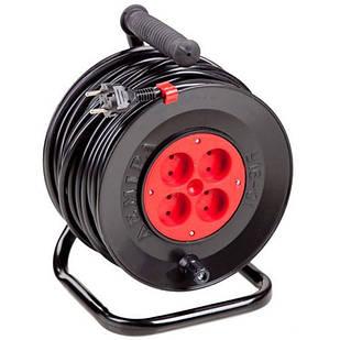 Подовжувач електричний на котушці У16-01 ПВС 2*1,5 40 м 4 розетки Леміра переноска