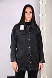Жіноча джинсова куртка чорна блакитна, фото 3