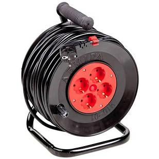 Подовжувач електричний на котушці У16-01 ПВС 2*2,5 30 м 4 розетки без Т/З Леміра переноска