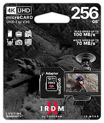 Карта памяти MicroSDXC 256GB UHS-I/U3 Class 10 GoodRam IRDM + SD-адаптер R100/W70MB/s (IR-M3AA-2560R