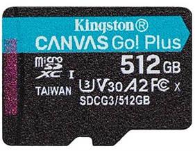 Карта памяти MicroSDXC 512GB UHS-I/U3 Class 10 Kingston Canvas Go! Plus R170/W90MB/s (SDCG3/512GBSP)