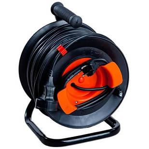 Подовжувач електричний з виносною розеткою на котушці У16-03 ПВС 2*1,5 50 м без Т/З Леміра переноска