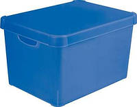 Коробка декоративная пластиковая для хранения с крышкой голубая 25 л 395Х295Х250 мм Curver CR-04711-0 Г