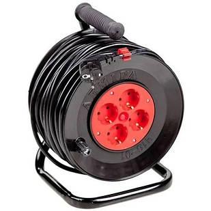 Подовжувач електричний на котушці У16-01 ПВС 2*2,5 40 м 4 розетки без Т/З Леміра переноска