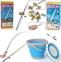 Карманная мини удочка с катушкой ручка fishPen телескопическая Складная походная маленькая карманный Спиннинг