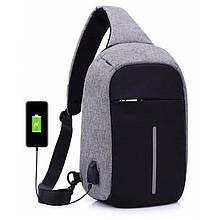 Сумка протикрадій в стилі Bobby mini. Рюкзак-протикрадій з USB портом Bobby Backpack