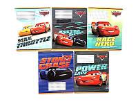 Набор тетрадей ученических 12 листов ТЕТРАДА DISNEY Cars Best линия картонная обложка 5 дизайнов 25 шт