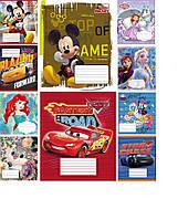 Набор тетрадей ученических 12 листов ТЕТРАДА DISNEY Микс линия картонная обложка 10 дизайнов 25 шт (ТЕ12397)