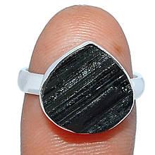 Серебряное кольцо с шерлом черным турмалином, 1644КШ