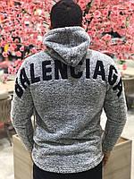 Худи Мужское Balenciaga серое Баленсиага теплое демисезонное толстовка с капюшоном на весну