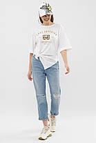 Бавовняна молодіжна жіноча футболка білого кольору, розмір S, M, L, фото 2