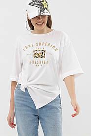 Хлопковая молодежная женская футболка белого цвета, размер S, M, L