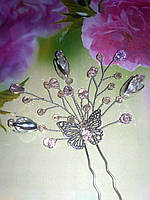 Шпилька в зачіску ніжно рожева Метелик на випускний, фото 1