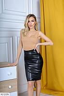 Кожаная юбка карандаш облегающая до колена р-ры 42-48 арт.   910