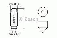 Лампа 12V 10W SV8,5 D11X41мм (трубочка)