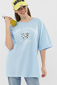 Прикольная женская голубая футболка из Турции с принтом, размер S, M, L
