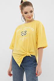 Длинная футболка желтая свободного кроя из коттона, размер S, M, L